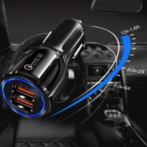 Univerzális Autós Töltő 2x USB Quick Charge 3.0 QC3.0 3.1A fekete