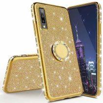 Samsung Galaxy A70 Diamond Csillámló Szilikon Tok TPU Gyűrűs Arany
