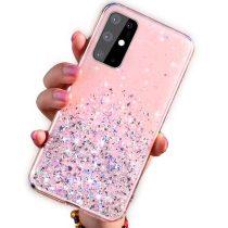 Xiaomi Redmi Note 8T Csillámló Szilikon Tok Glitter Series MTW Style Rózsaszín
