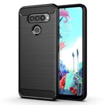 LG K50S Szilikon Tok Karbon Mintázattal Fekete