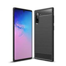 Samsung Galaxy Note 10+ Note 10 Plus Szilikon Tok Karbon Mintával Fekete