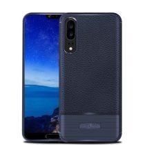 Huawei P20 Tok Szilikon Bőr-Szálcsiszolt Mintázattal Sötétkék