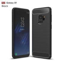 Samsung Galaxy S9 Szilikon Tok Ütésállókivitel Karbon Mintázattal Fekete