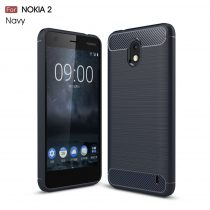 RMPACK Nokia 2 Szilikon Tok Ütésállókivitel Karbon Mintázattal Sötétkék