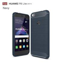 Huawei P9 Lite (2017) / Huawei P8 Lite (2017) Karbon - Szálcsiszolt Mintás Szilikon Tok Ütésálló Kivitel Sötétkék